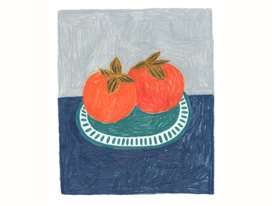 Persimmons fruit illustration persimmon colorful handmade