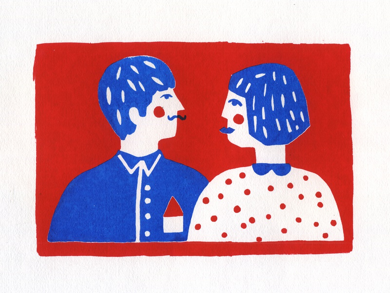 serigrafia silkscreen print blue people red colorful handmade illustration