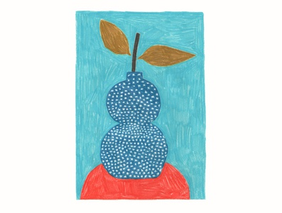 Still life still life red flower blue colorful illustration handmade
