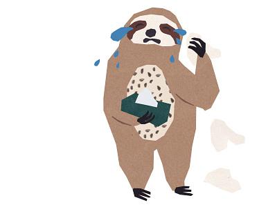 Editorial Illustration made for AWW Magazine (issue5) kids illustration animal digital illustration magazine animal character sloth photoshop handmade editorial illustration collage colorful illustration