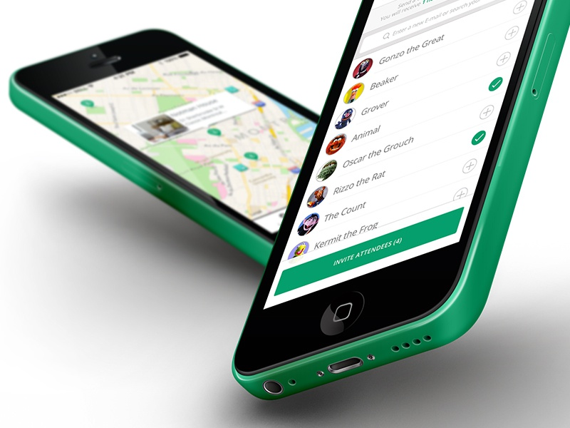 Contact List contacts invite muppets avatar minimal ios7 5c iphone clean flat green
