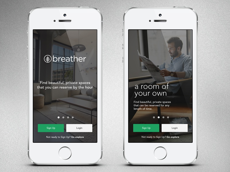 Breather 2.0 OnBoarding onboarding tutorial walkthrough breather green sign up login app