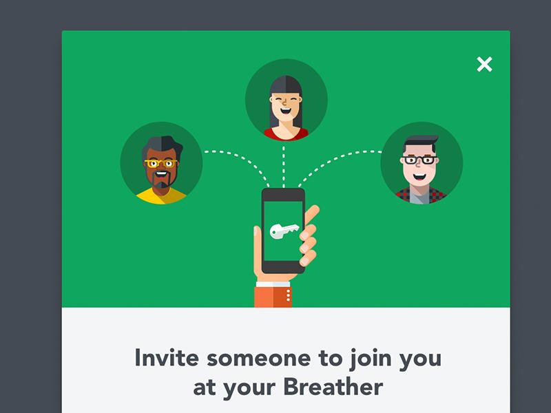 Invitation Modal avatar phone key web sharing illustration modal breather