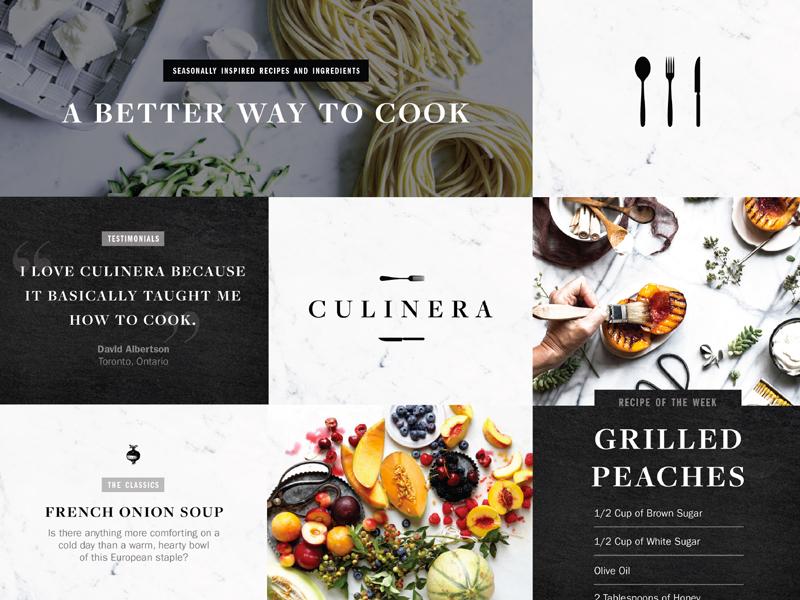 Culinera Style Tile cooking kitchen marble food monochromatic white black branding logo identity brand moodboard
