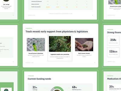 Cannabis Pitch Deck business presentation graphic design graphs data visualization cbd cannabis pitch deck keynote presentation powerpoint investor pitch investor deck presentation design