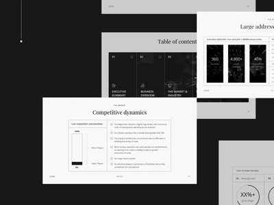 Investor deck for a Nightclub club nightclub graphs and charts classic style dark theme black and white business presentation pitch deck design keynote design investor pitch powerpoint investor deck presentation design