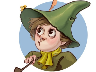 Snufkin sticker stickers painting illustration moomin
