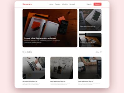 Signature Blog ui website branding ux design ui web design illustration web landingpage app