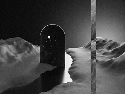Surreal Landscape (Blender+Photoshop) landscape minimal abstract surrealism surreal blackandwhite blendercycles cyclesrender blender3d 3dartist 3dart blender3dart 3d blender photoshop