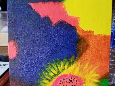 Flower paintings painting neon colors neon flower art
