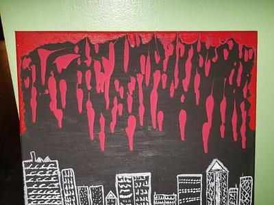 Burning city artwork art painting
