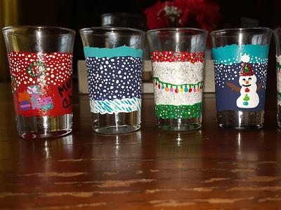 Holiday glassware winter handmade painted holiday