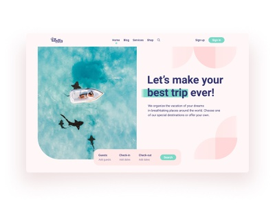 Travel Website Homepage 🌊 travel agency tours vacation booking tourism trips travel travelling bauhaus ux geometric art geometric design minimal web minimalistic flat 2021 design ui minimalism clean design