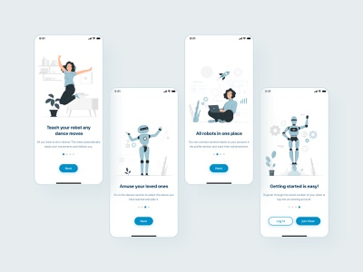 Onboarding UI for mobile app 🤖 onboarding flow android sign up login onboarding ui cute robots ios mobile app mobile iphone minimal ui elements minimalistic ux flat 2021 design ui minimalism clean design