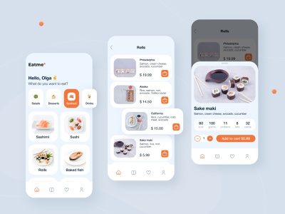 Food delivery app 🍣 mobile food and drinks recipe cooking ordering app menu sushi product card ios restaurant app food logo delivery app ui elements ux ui minimalism flat 2021 design clean design