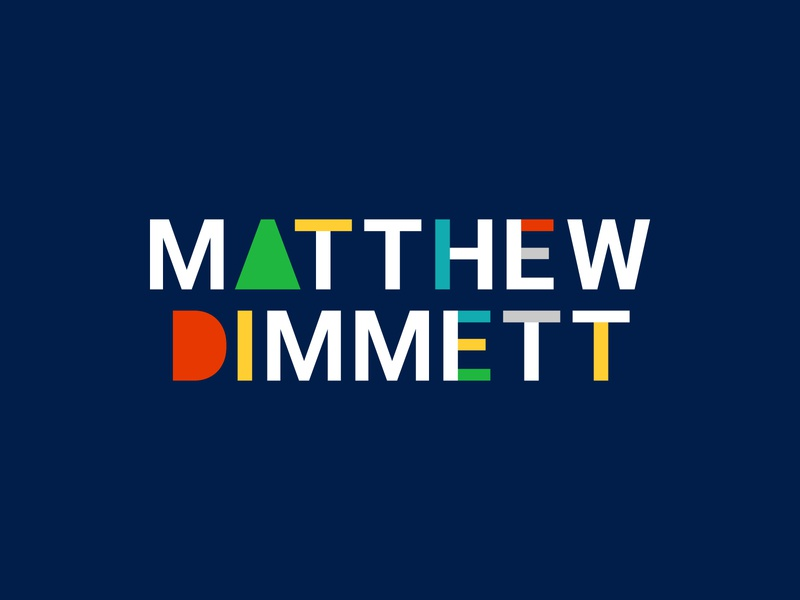New Matthew Dimmett Creative Logo branding primary colors blue type logo