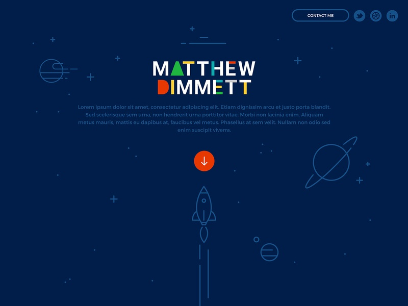 New Matthew Dimmett Creative Website primary colors flat design illustration space