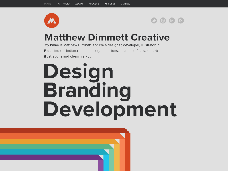 Matthew Dimmett Creative: Home personal portfolio proxima nova black gray rainbow