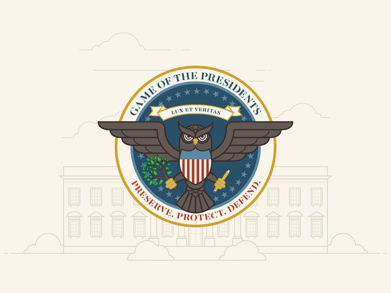 Game of the Presidents Logo logo whitehouse muted colors usa united states government badge owl