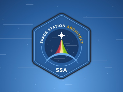 Space Station Architect Logo blue logo nasa space station space badge