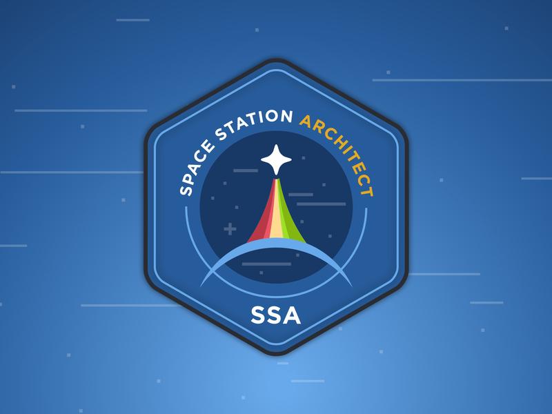 Space Station Architect Logo blue logo nasa space station space badge