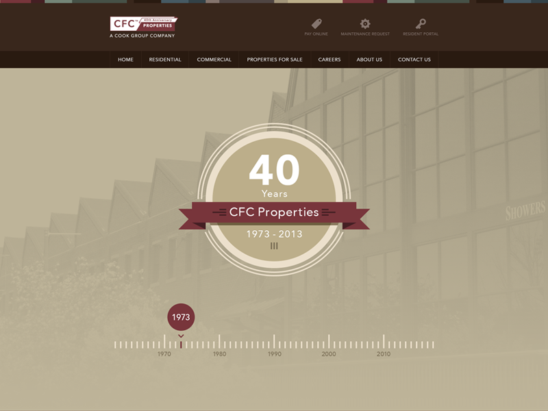 CFC Properties 40 Years Site badge timeline parallax yellow red brown