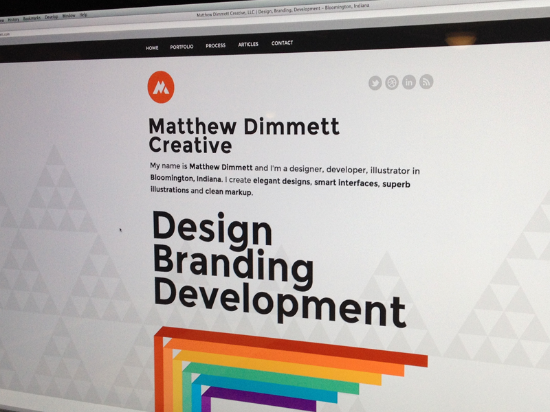 Matthew Dimmett Creative Launched portfolio personal site launch proxima nova rainbow