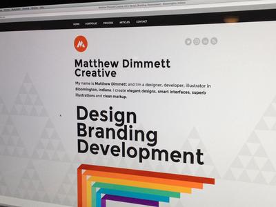 Matthew Dimmett Creative Launched portfolio personal site launch proxima nova rainbow