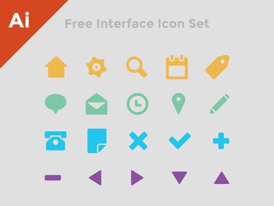 Free Interface Icon Set free icon icons set interface flat simple illustrator ai eps