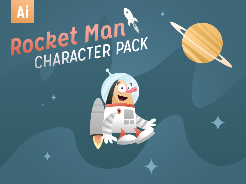 Rocket Man Character Pack rocket man rocket astronaut space illustration retro graphicriver