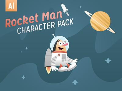 Rocket Man Character Pack rocket man rocket astronaut space illustration retro graphicriver