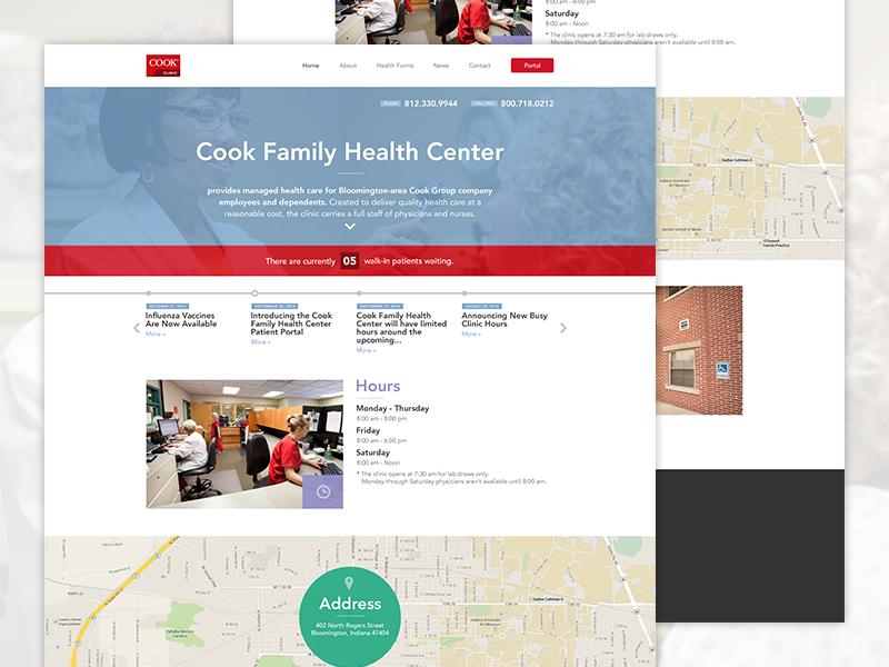 Cook Family Health Center health doctor hospital clean white flat avenir