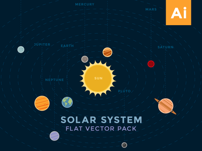 Solar System Flat Vector Pack illustration space solar system graphicriver flat