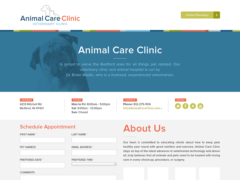 Animal Care Clinic Redesign animal dog vet veterinary veterinarian blue gray red green proxima nova