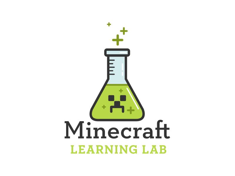 Minecraft Learning Lab Logo Concept klinic slab green blue chemistry science learning creeper minecraft badge logo