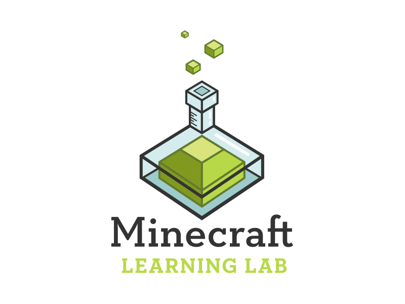 Minecraft Learning Lab Logo Concept klinic slab green blue chemistry science learning creeper minecraft badge logo
