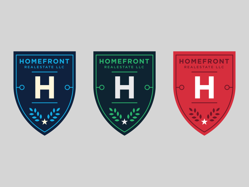 Unused Logos Homefront Real Estate Logos Set 3 shields shield logos real estate red green blue gotham