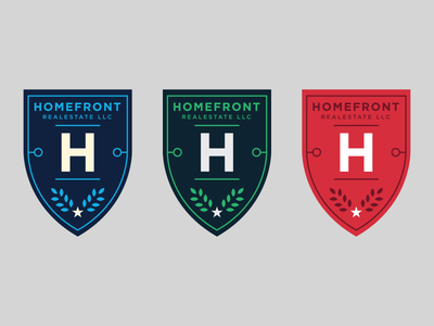 Unused Logos Homefront Real Estate Logos Set 3 shields shield logos real estate red green blue gotham