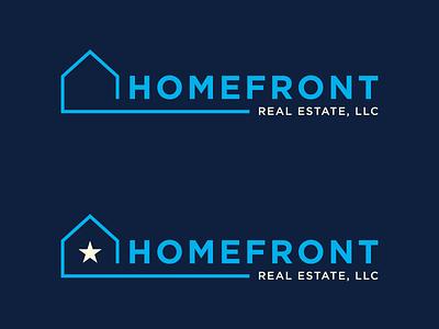 Final Logos Homefront Real Estate Logos real estate logos house home blue