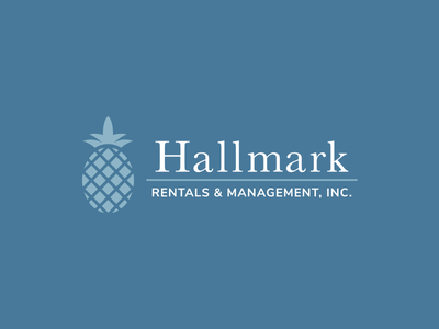 Hallmark Rentals & Management, Inc. Logo blue nunito sans libre baskerville pineapple property management logo