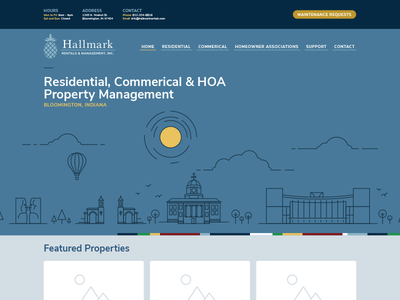 Hallmark Rentals & Management, Inc. Website property management pineapple nunito sans libre baskerville blue indiana bloomington illustration city web site
