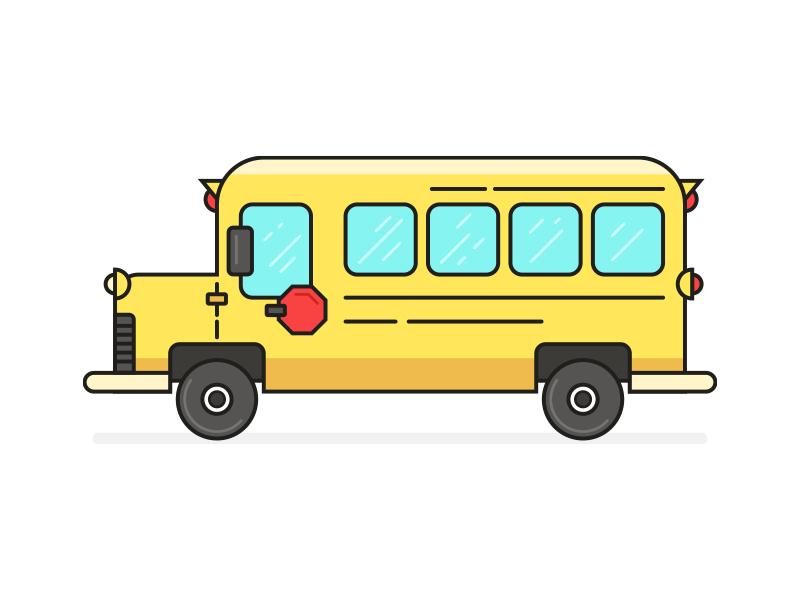 School Bus line art school bus illustration
