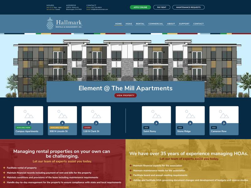 Hallmark Rentals UX Improvements nunito sans yellow red blue property management website design ux user experience