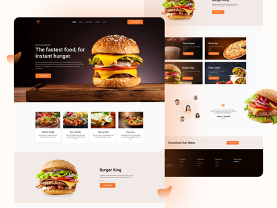 Burger Landing Page fast food food delivery burger pizza foodie restaurant styleguide colorful flat design illustration ios app restaurant app landing page