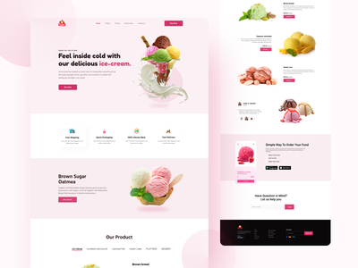E-commerce Ice Cream Landing Page e commerce fresh colorful agency webdesign website creative landing page design interface minimal web template web design food icecream store restaurant uidesign popular shot trends foodie