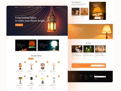 E-commerce Lamp Product Landing Page landing page ui dribbbble psd template ui ux design uiux designer color landing page landing page concept minimal ui ux illustration lamp product lamps template homepage creative light website