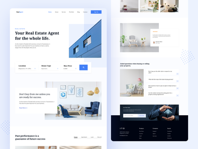REALAGENT -  Real Estate Landing Page uiux uidesign ui simple minimalist landing page website web design homepage landing page design property real estate real estate agent home agency interior architecture property search agent design