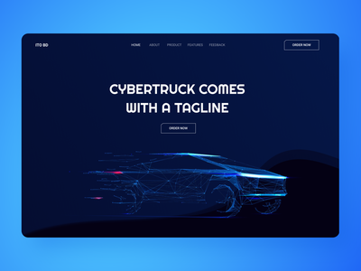 Tesla Cybertruck Header Exploration ux truck cybertruck electric vehicle design hero web unfold agency website landing page design minimal landing page team tesla