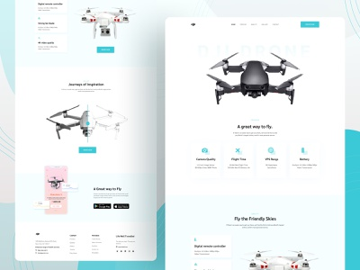 Drone Selling Landing Page Design creative design character illustration exploration food illustration green homepage concept hero section explorations visual design web design website drone dji design layout motion principle product website landing page