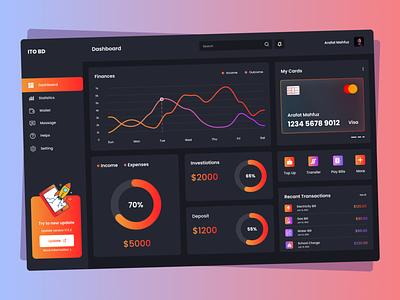 Finance Dashboard Design clean minimal statistics cards bank cards wallet wallet app interface admin design finance financial dashboad app uiux ux